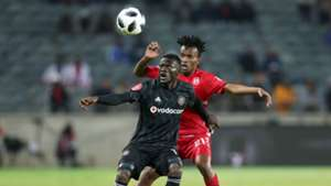 Augustine Mulenga of Orlando Pirates shields ball from Luckyboy Mokoena of Highlands Park, August, 2018