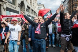 Cologne Football Supporters Parade Through London Ahead Of Their Europa League Game With Arsenal 14/09/2017