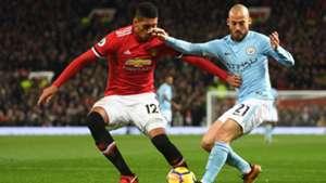 Chris Smalling, David Silva, Manchester United vs Manchester City, 17/18
