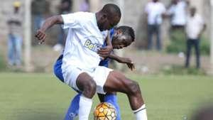 Migael Oduor of Sofapaka tackle Sisia Tryone of Bandari