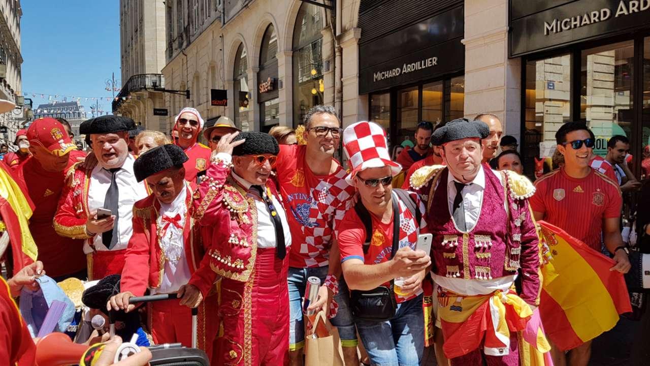 euro 2016 - Spain and Croatia fans