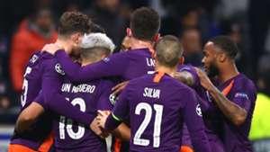 Man City celebrate at Lyon