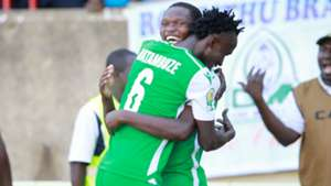 Nicholas Kipkirui and Shafik Batambuze of Gor Mahia v Zamalek.