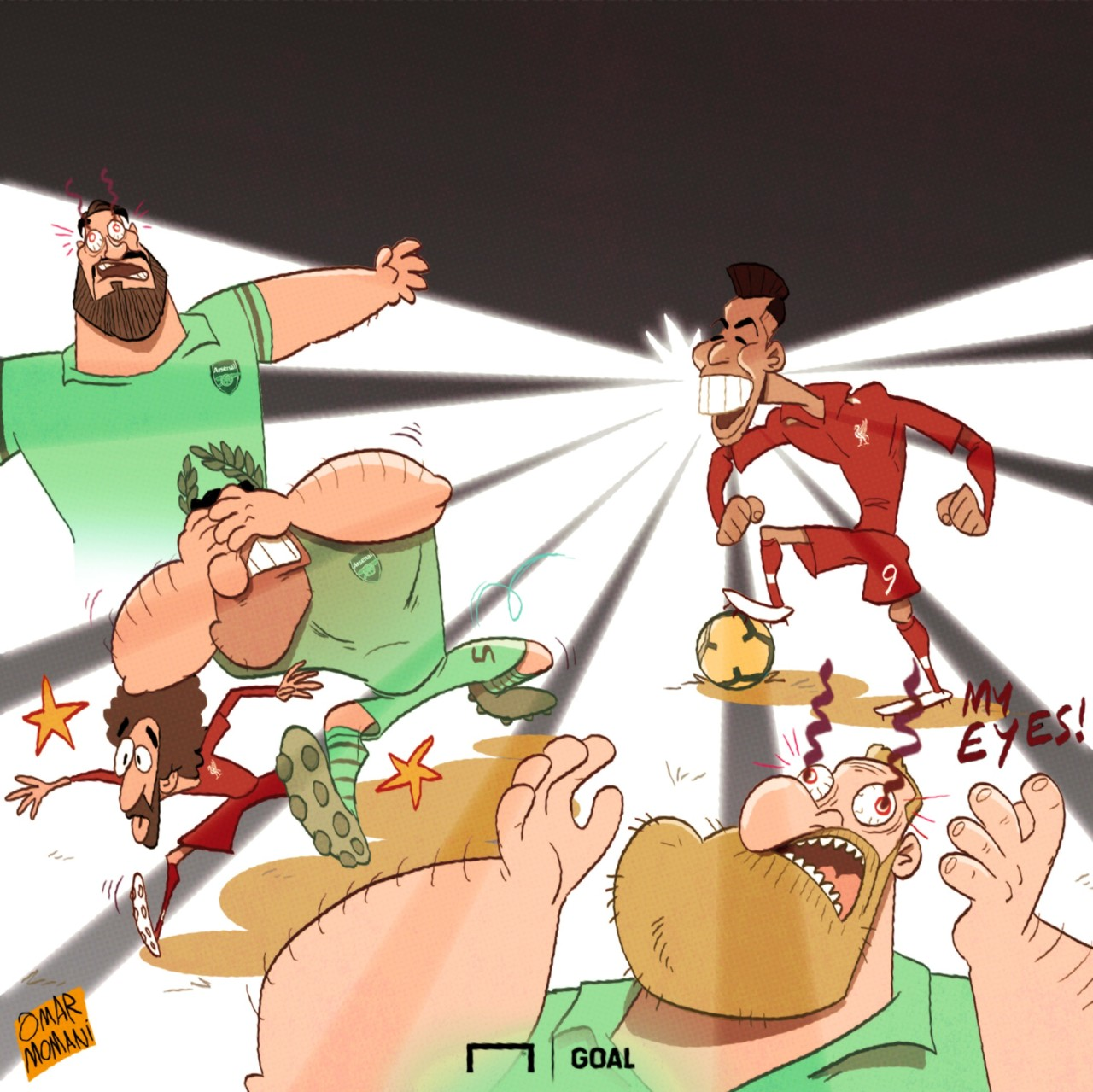 Cartoon Firmino's rays vs Arsenal