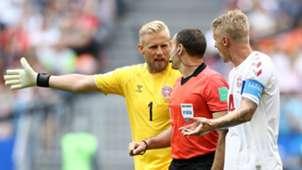 Kasper Schmeichel Simon Kjaer Denmark Antonio Mateu World Cup 2018 Australia