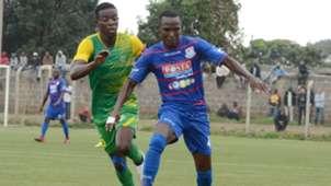Joseph Mbugi of Posta Rangers v Kariobangi Sharks star Eric Juma.