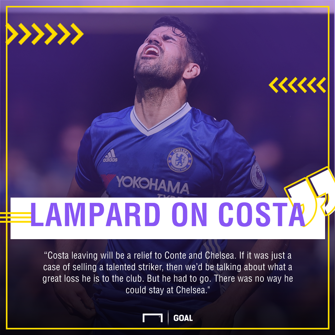 Diego Costa Frank Lampard Chelsea relief