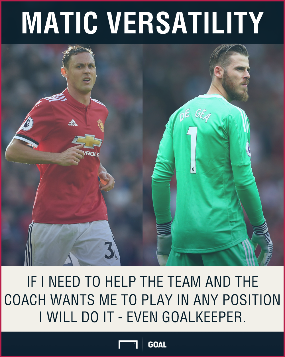 Nemanja Matic Manchester United play anywhere