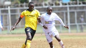 James Kasibante of Sofapaka against James Situma of Tusker