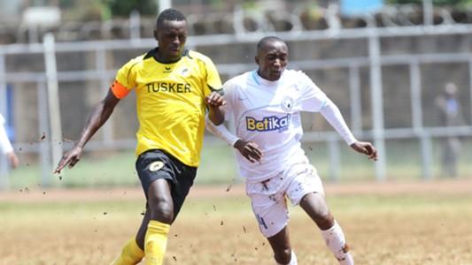 James Kasibante of Sofapaka against James Situma of Tusker