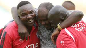 Ulinzi coach Benjamin Nyangweso and Joe Birgen