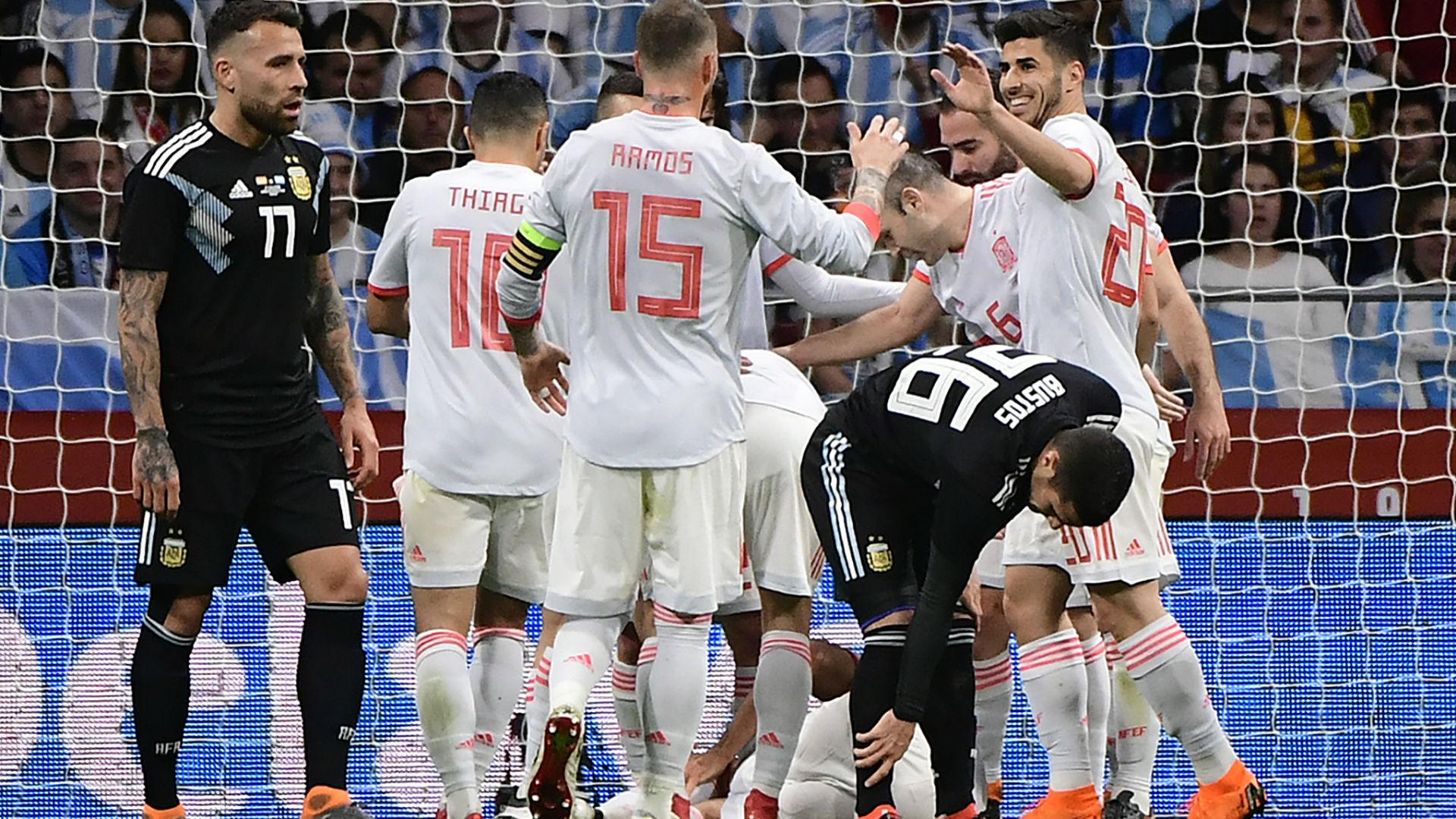 España golea en amistoso a una Argentina sin Messi