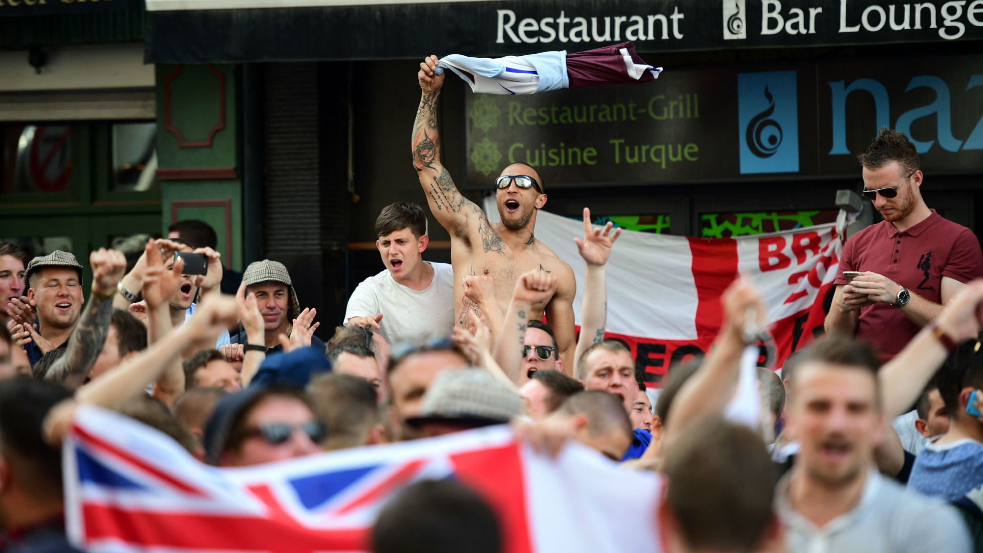 England fans in Lille with police presence