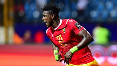 Guinea's forward Sory Kaba celebrates his goal during the 2019 Africa Cup of Nations