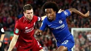 James Milner Willian Liverpool Chelsea 2018-19