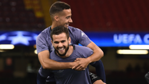 Real Madrid players Nacho Fernandez and Lucas Vazquez ahead a Champions League game