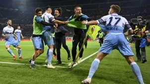 Lazio players celebrating Milan Lazio Coppa Italia
