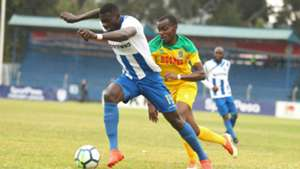 Salim Abdalla of AFC Leopards v Daniel Mwaura of Mathare United.