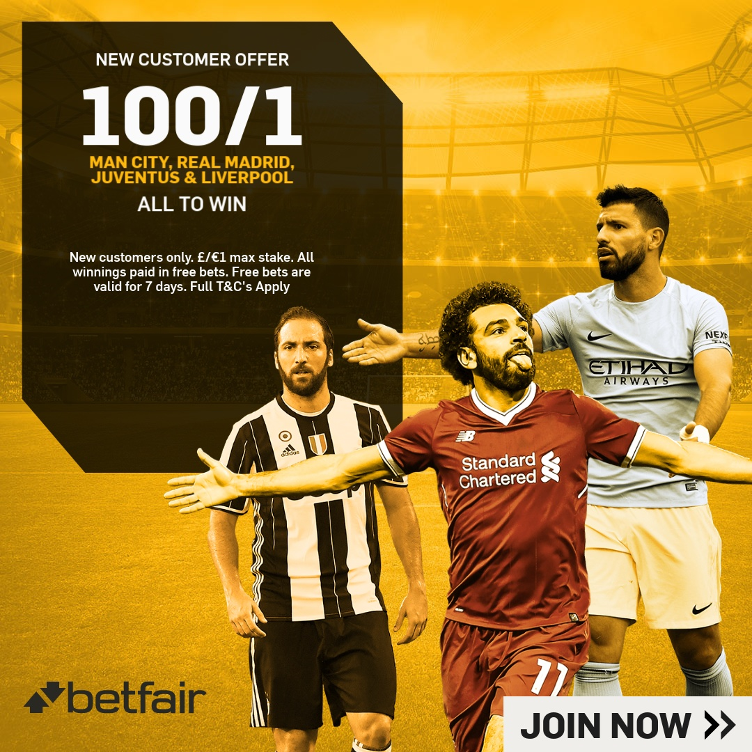 Betfair Acca 100/1 graphic