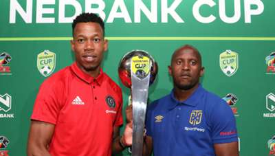 Happy Jele of Orlando Pirates with Vincent Kobola of Cape Town City
