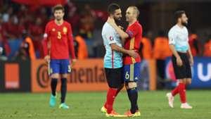 Arda Turan Andres Iniesta Turkey Spain Euro 2016 06172016
