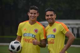 James & Falcao entrenamiento Colombia