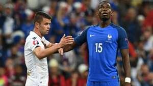 Paul Pogba Amir Abrashi France Albania UEFA Euro 2016 15062016