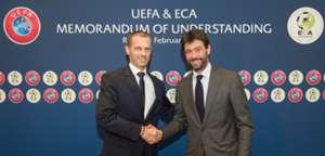 Andrea Agnelli, junto al actual presidente de la UEFA.
