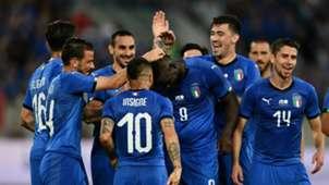 Mario Balotelli celebrating Italy