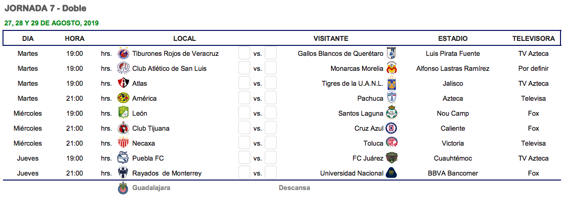 Liga Bbva Calendario 2019.Cual Es El Calendario Del Apertura 2019 De La Liga Mx Goal Com