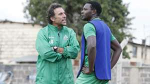 Gor Mahia coach Hassan Oktay and Ernest Wendo.