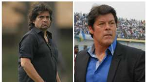 AFC Leopards coaches Luc Eymael and Rodolfo Zapata.
