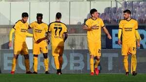 Verona celebrating Fiorentina Verona Serie A