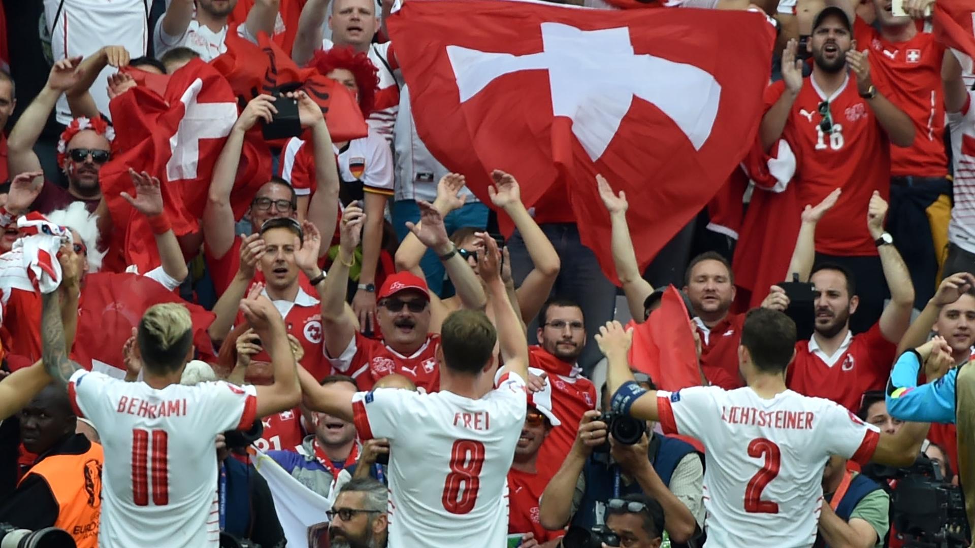 Switzerland celebrate victory over Albania, Euro 2016