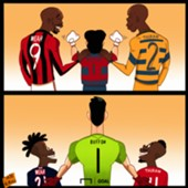 Cartoon Buffon, Thuram and Weah