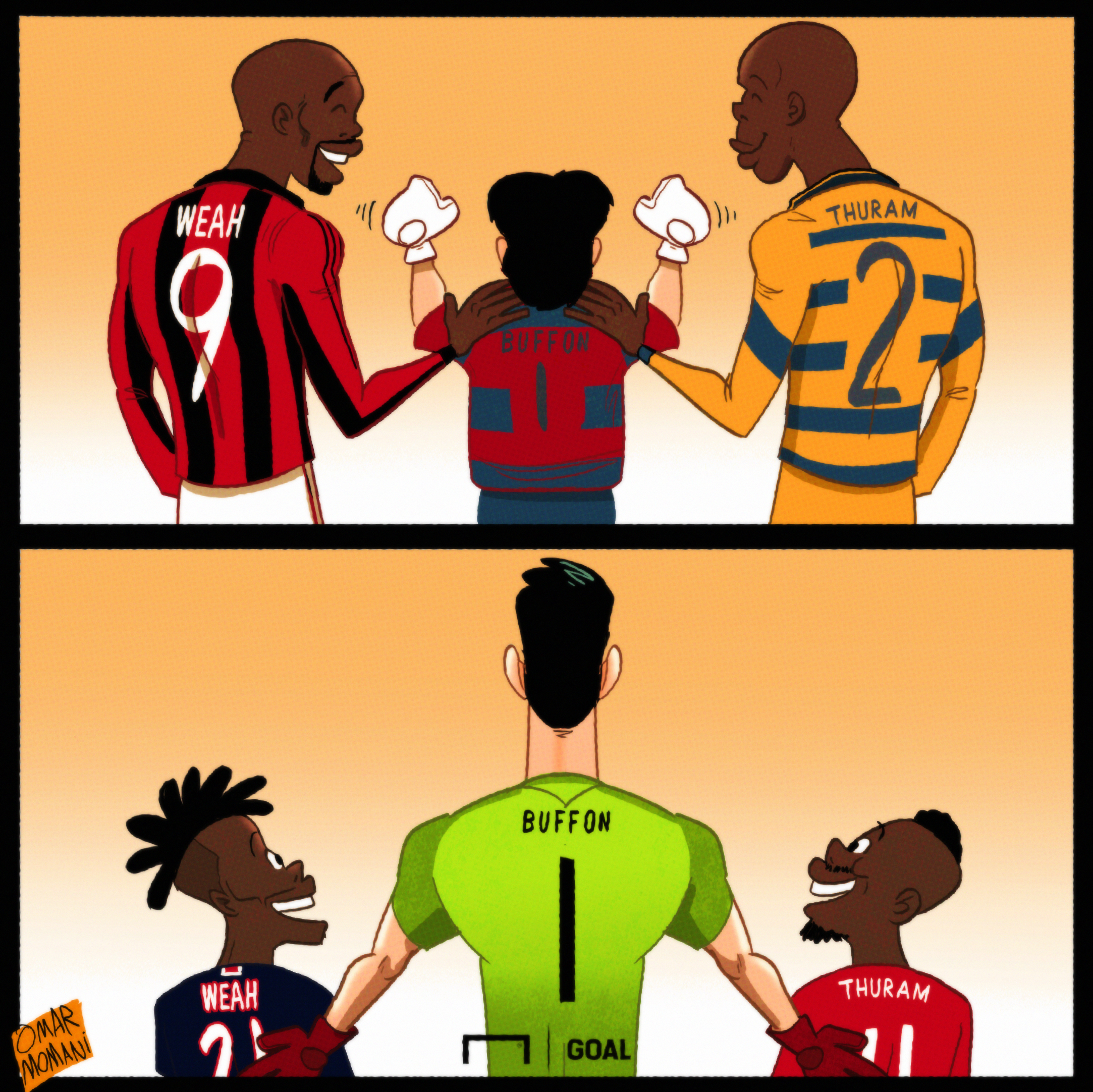 Cartoon Buffon, Thuram and Weah