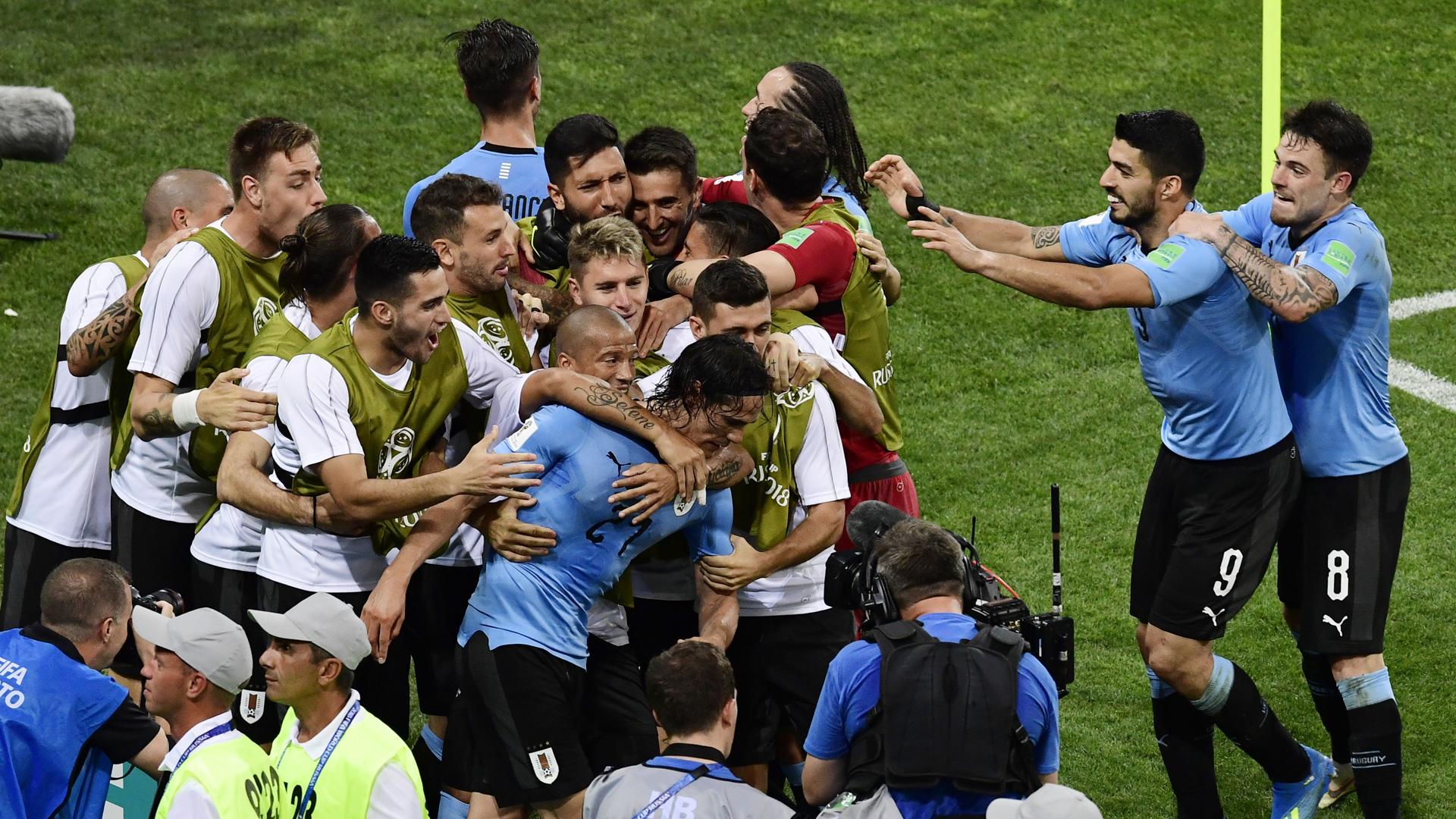 Uruguay World Cup Portugal celebration 300618