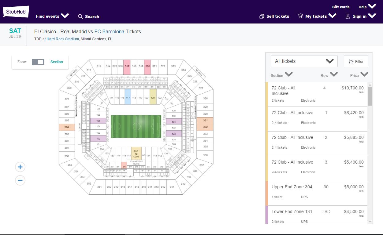 Barca Madrid Miami ticket prices