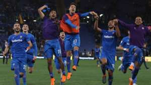 Fiorentina celebrating against Roma Serie A