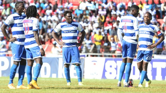 AFC Leopards players look dejected after conceding against Gor Mahia