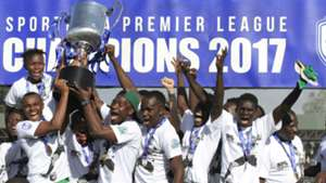 Gor Mahia players with KPL trophy.