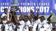 Gor Mahia players with KPL trophy.