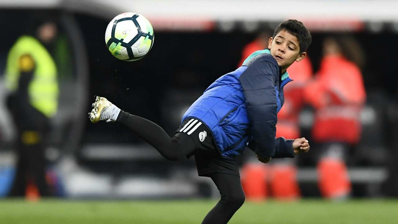 Image result for Goalless Cristiano Ronaldo shown how to score for Juventus... by his son!