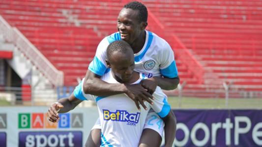 Okare Ezekiel and Odipo Mourice goal celebration