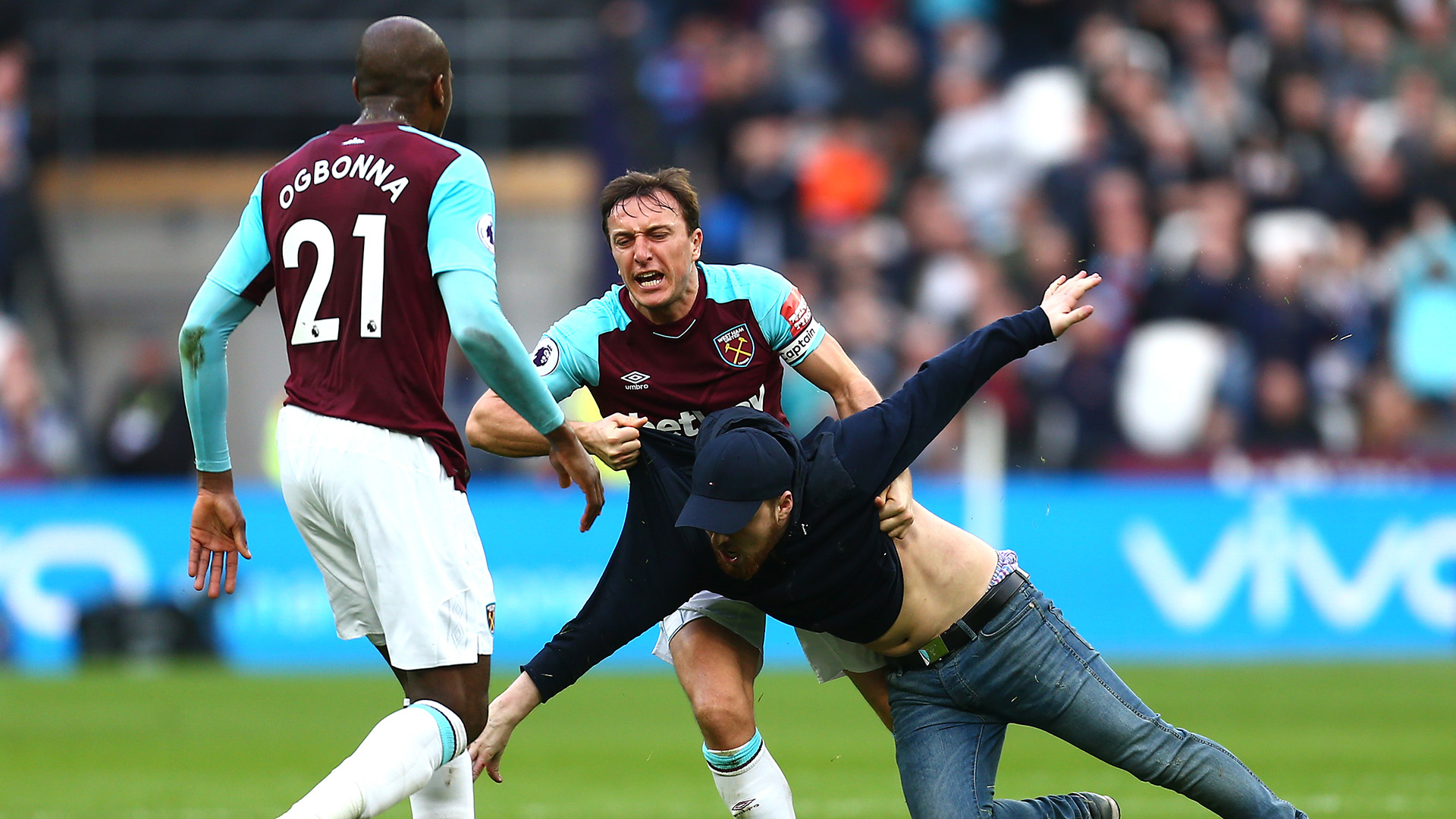 West Ham pitch invasion Mark Noble Burnley Premier League