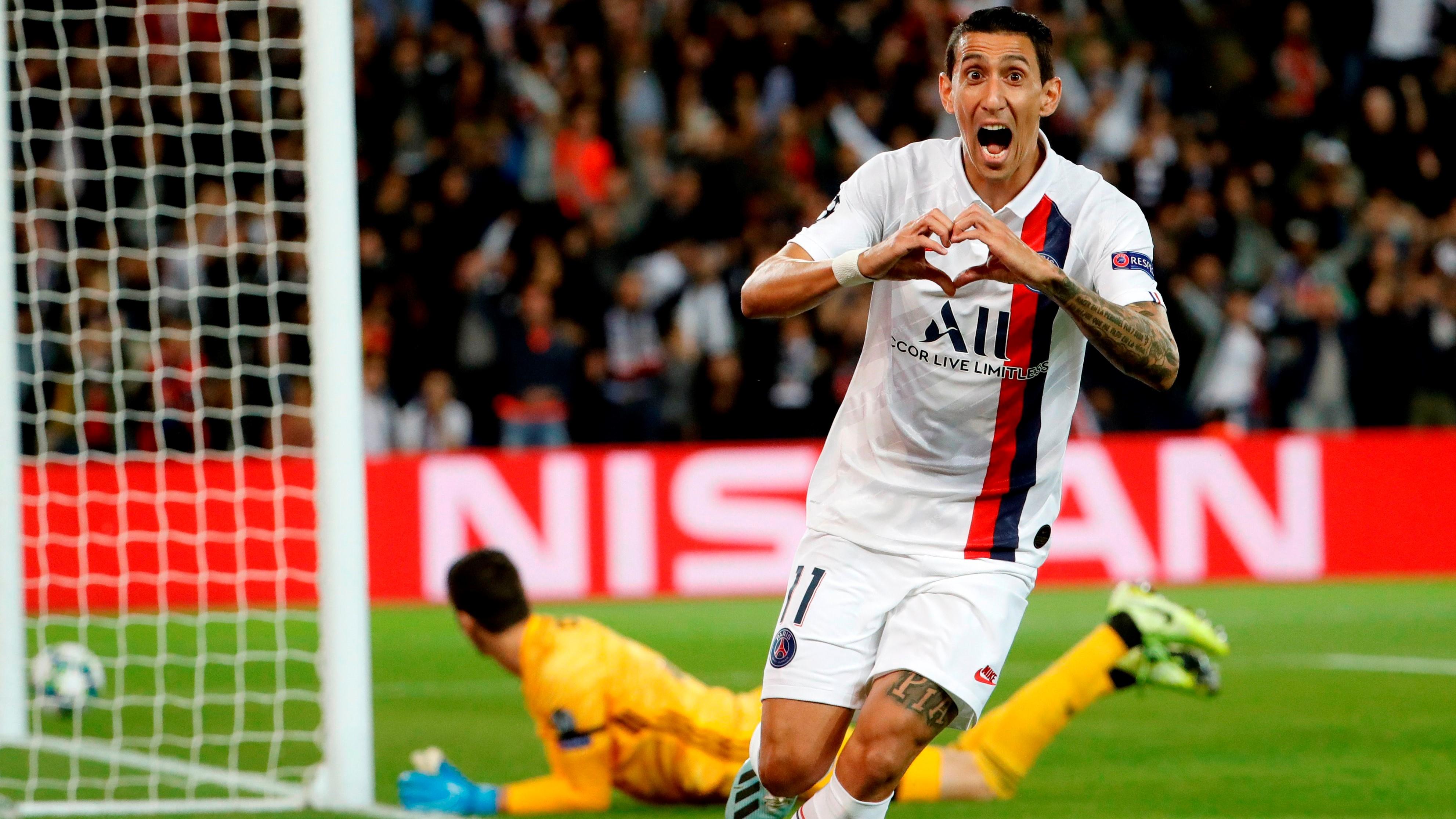 Di Maria comemora gol do PSG diante do Real Madrid