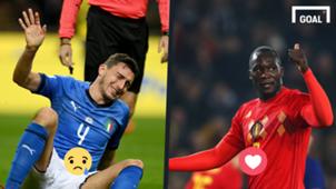 Matteo Darmian Italy Romelu Lukaku Belgium