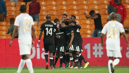 Thabo Qalinge celebrates goal with Orlando Pirates teammates