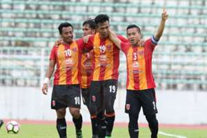 Sime Darby FC players celebrating their goal against Shahzan Muda 6/2/2017