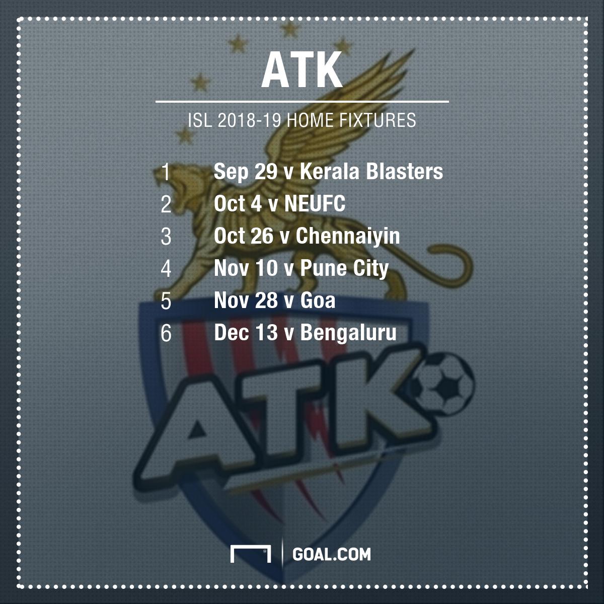 ATK home fixtures